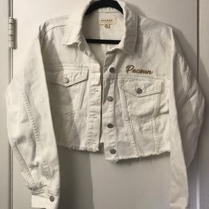 Pacsun White Cropped Denim Jacket Size XS/S